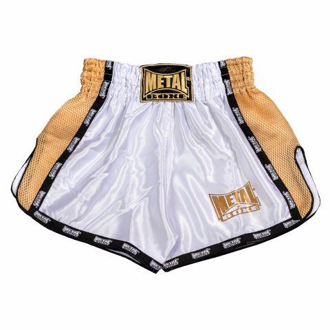 Short de Muay Thai Extrem Metal Boxe - Blanc/Doré