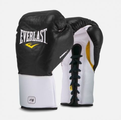 Gants de boxe Everlast MX Pro Fight à lacets - Noir
