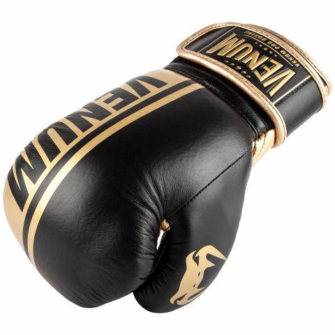 Gants de boxe pro Venum Shield - Velcro - Noir/Or