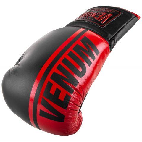 Gants de boxe pro Venum Shield - Avec Lacets - Noir/Rouge
