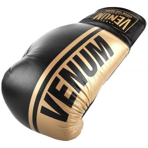 Gants de boxe pro Venum Shield - Avec Lacets - Noir/Or