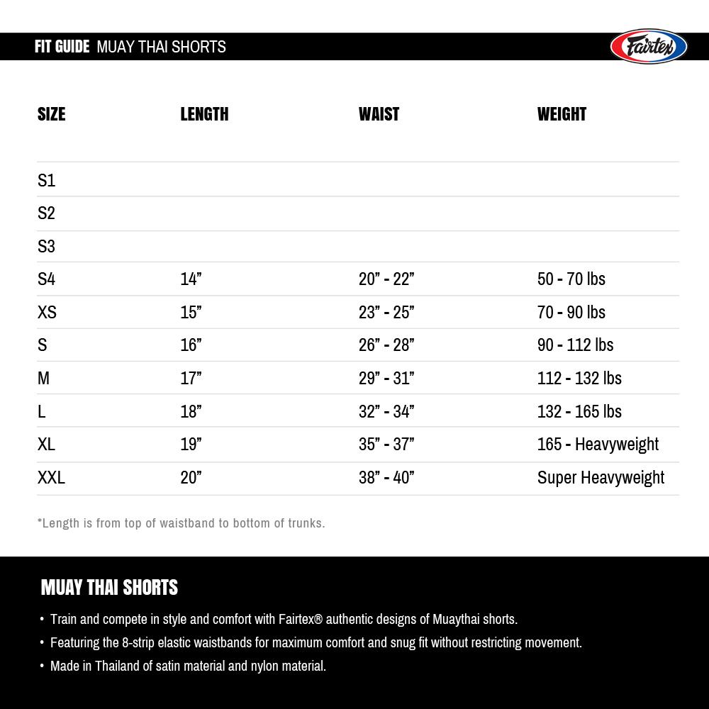 Guide des tailles Fairtex