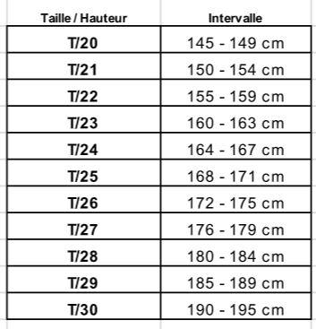 Guide des tailles Fuji Mae
