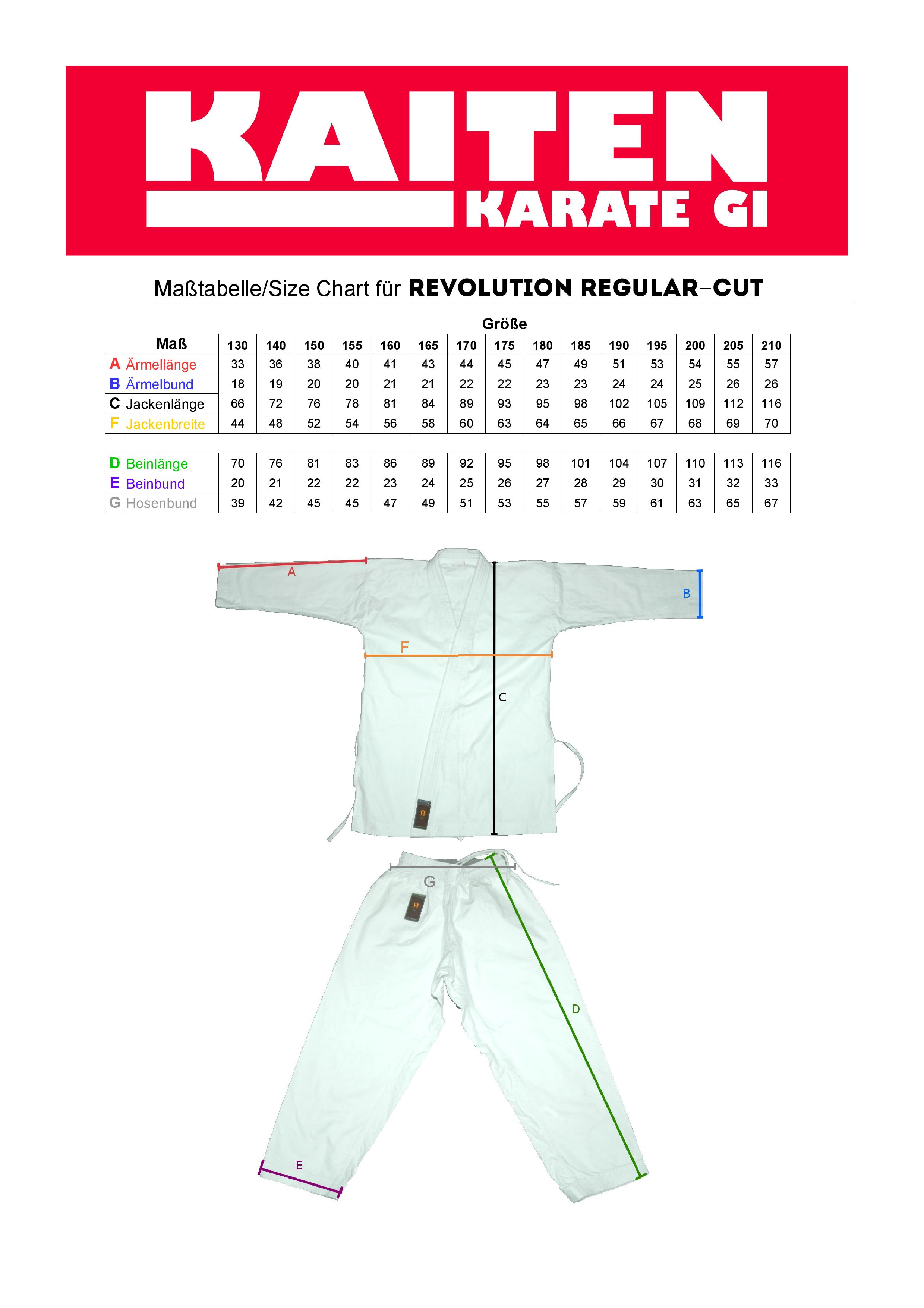 Guide des tailles Kaiten